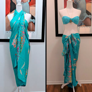 PAREO SARONG TURQUOISE FLORAL FRINGE EDGES BEACH